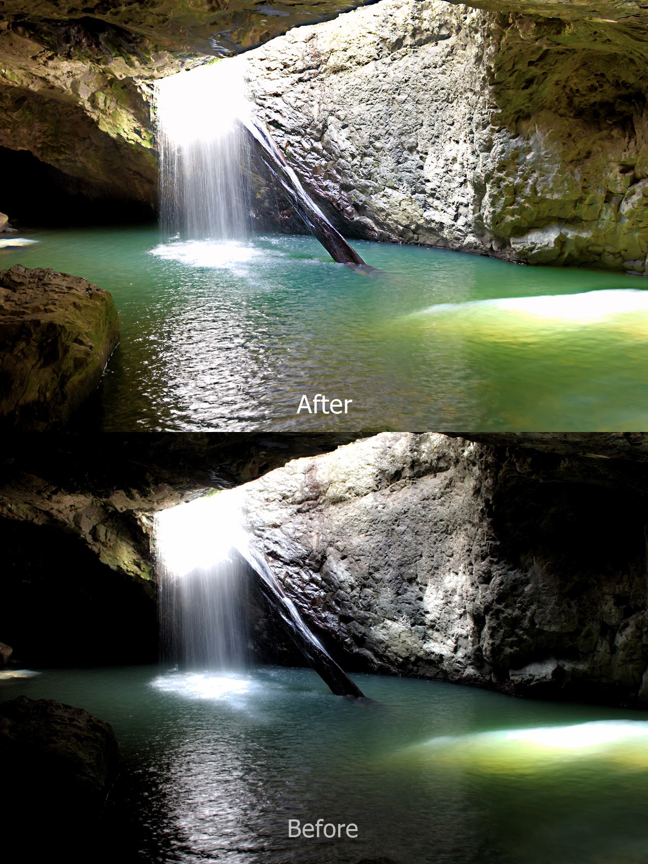 Springbrook Natural Bridge, Natural Arch _ Before and After Processing