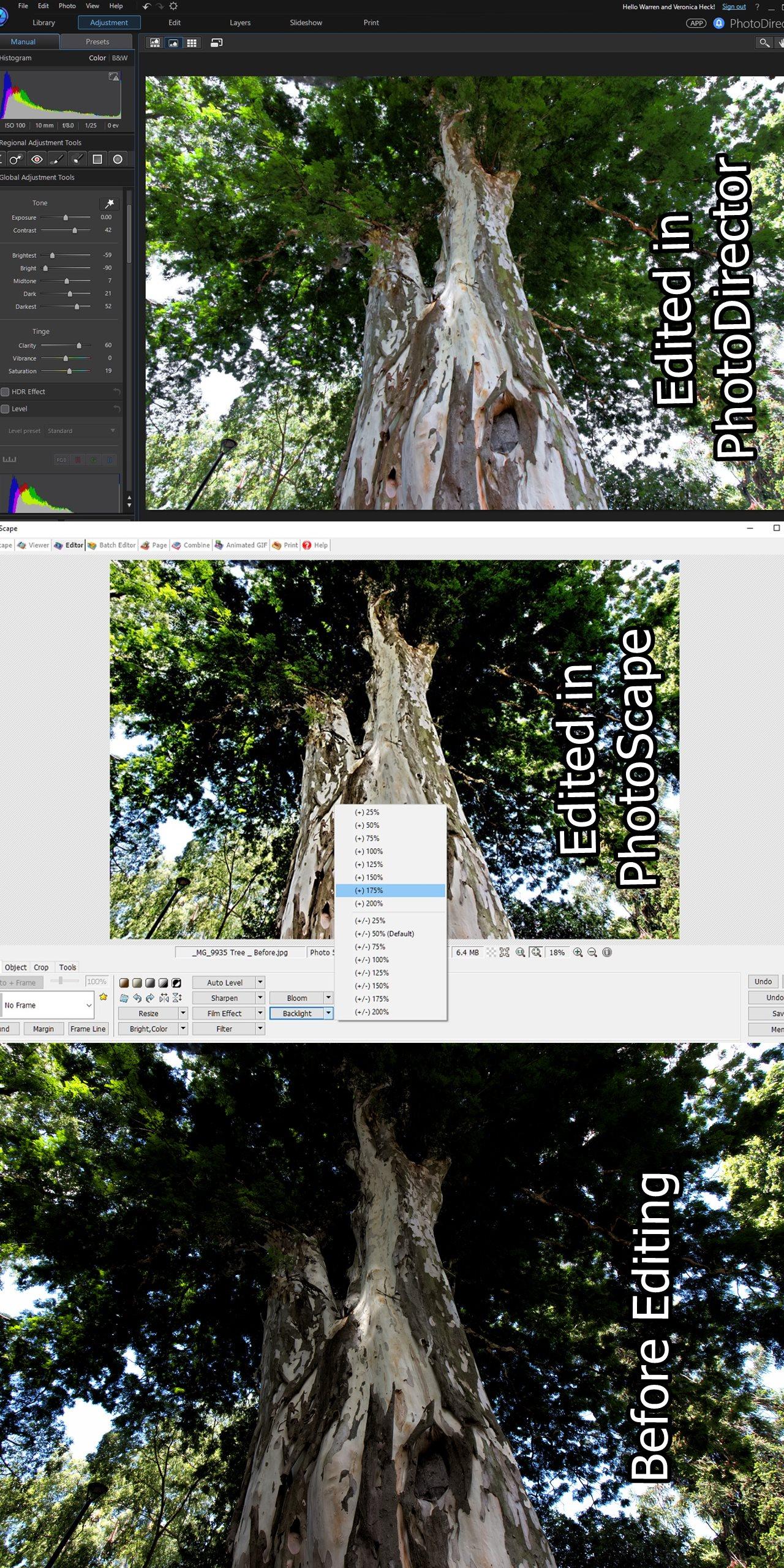 Three Different lighting images