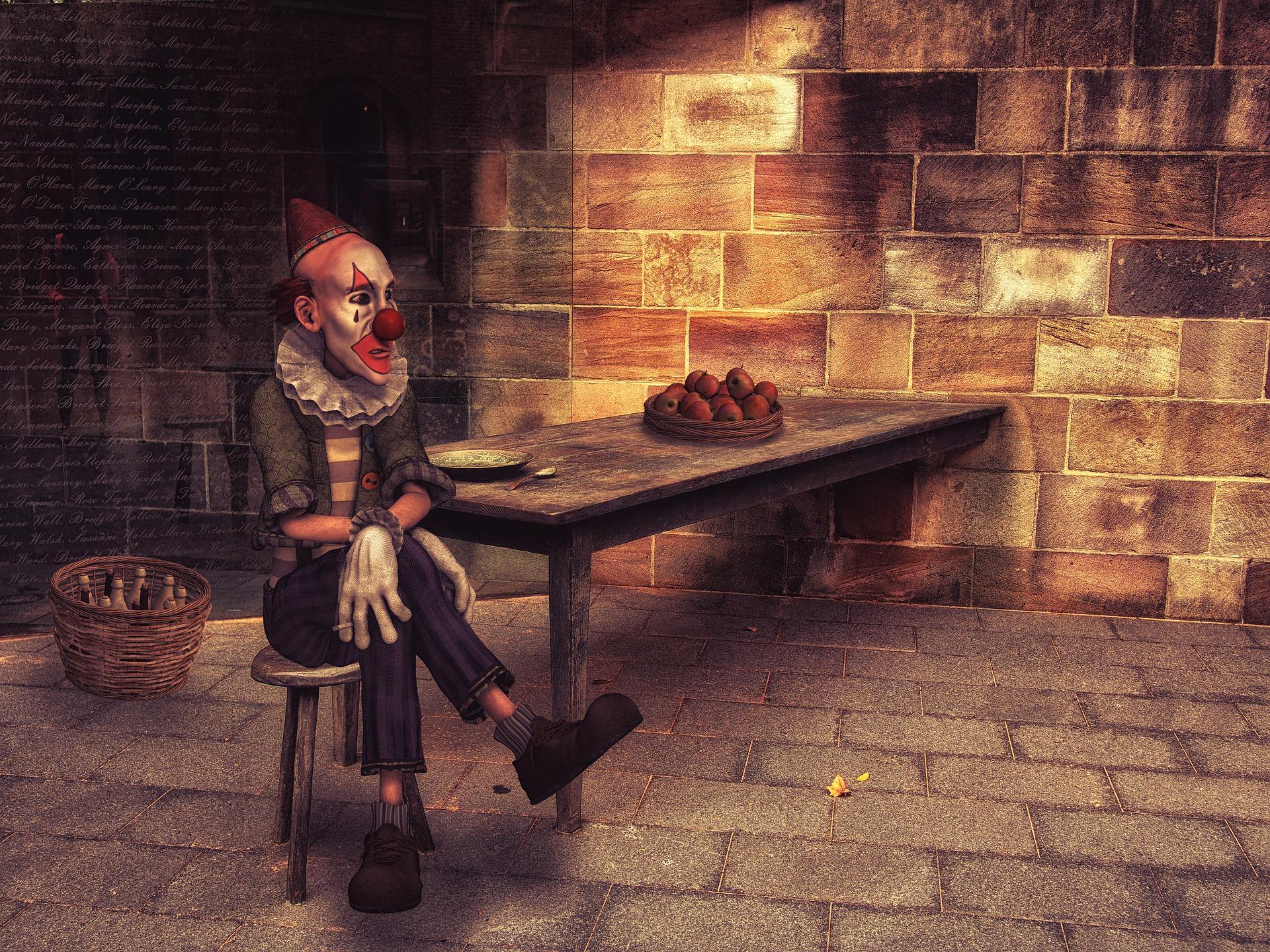 Clown seated