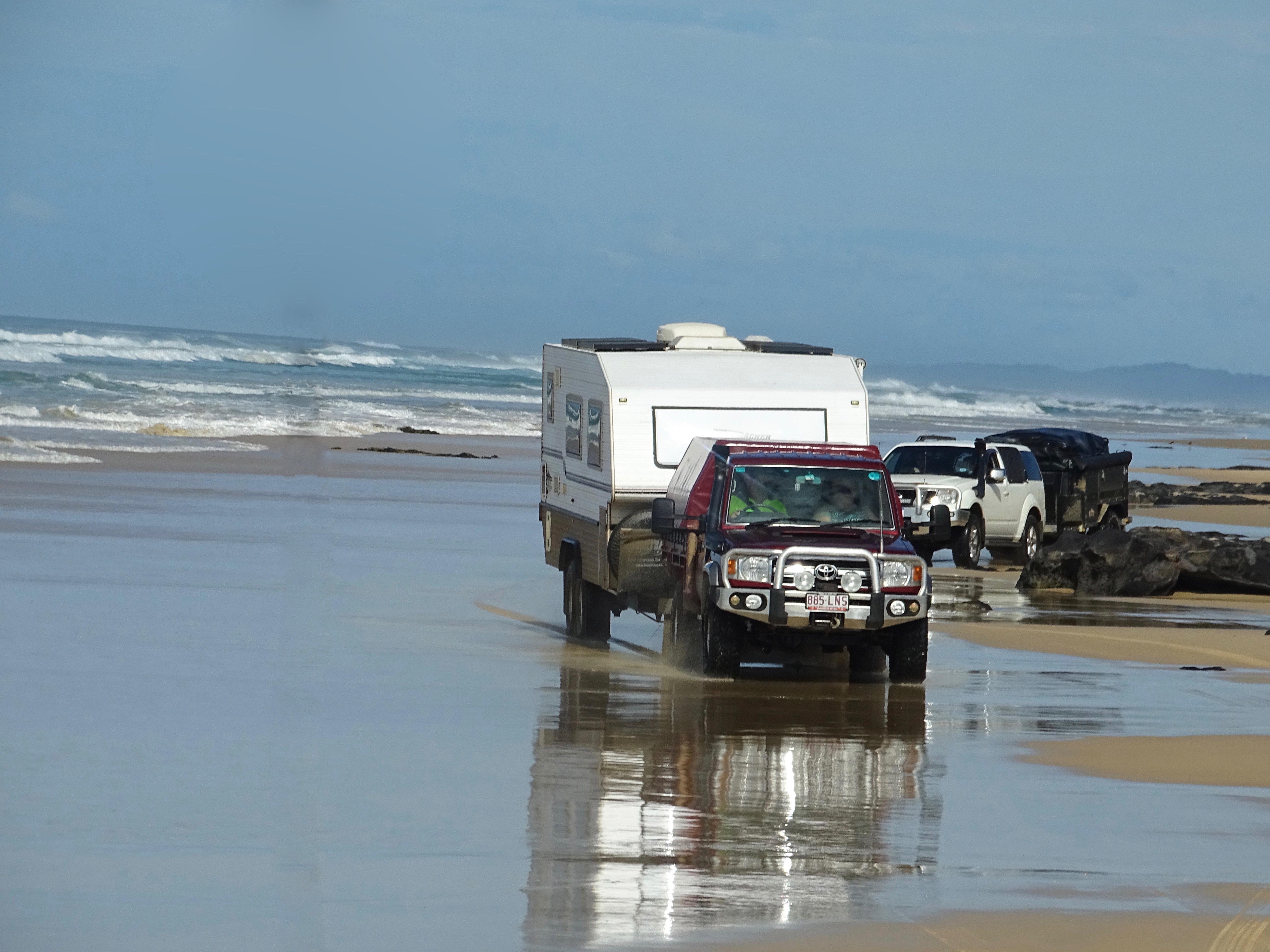 Cars on beach Fraser Island
