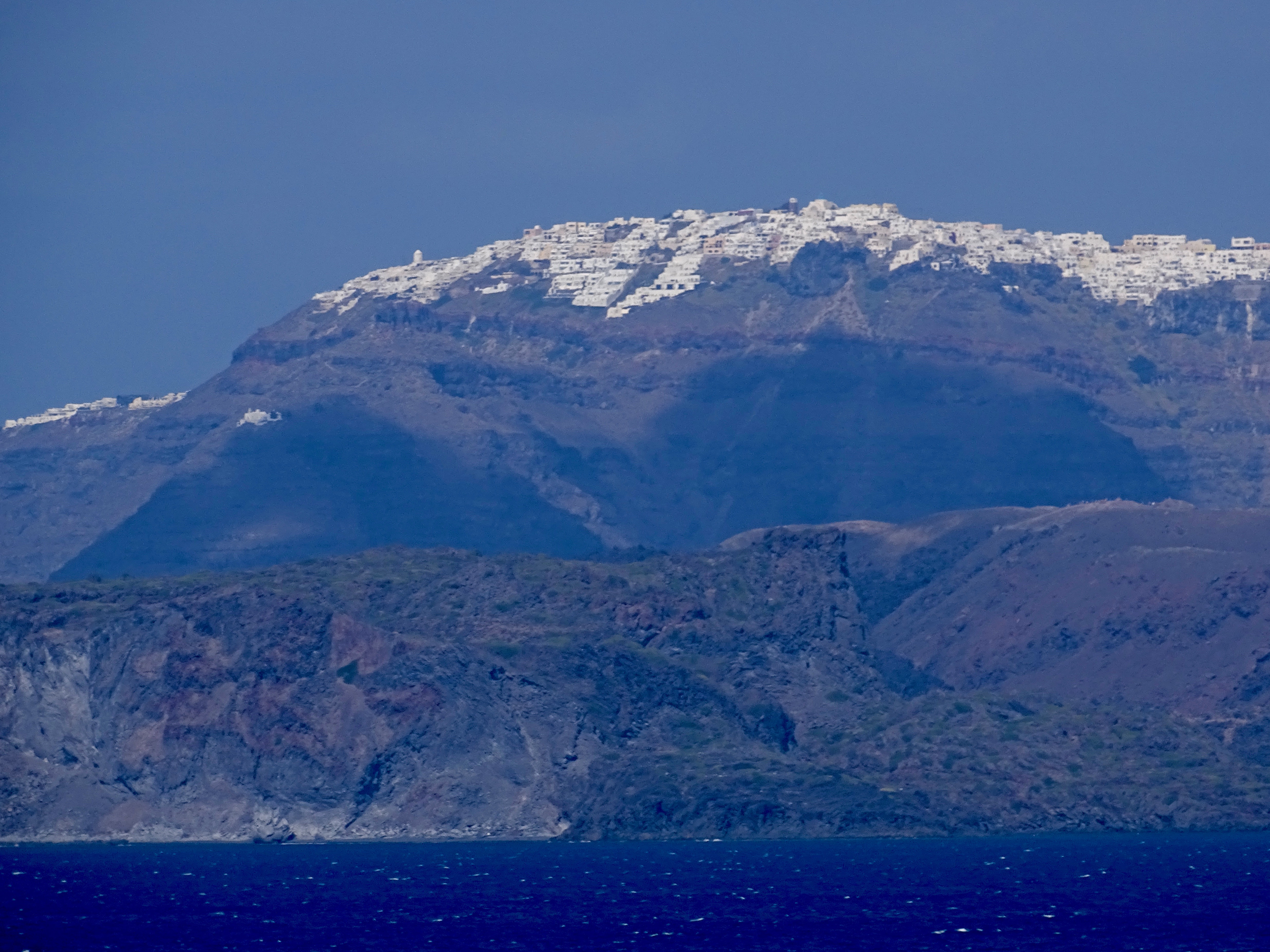 Santorini island from the water