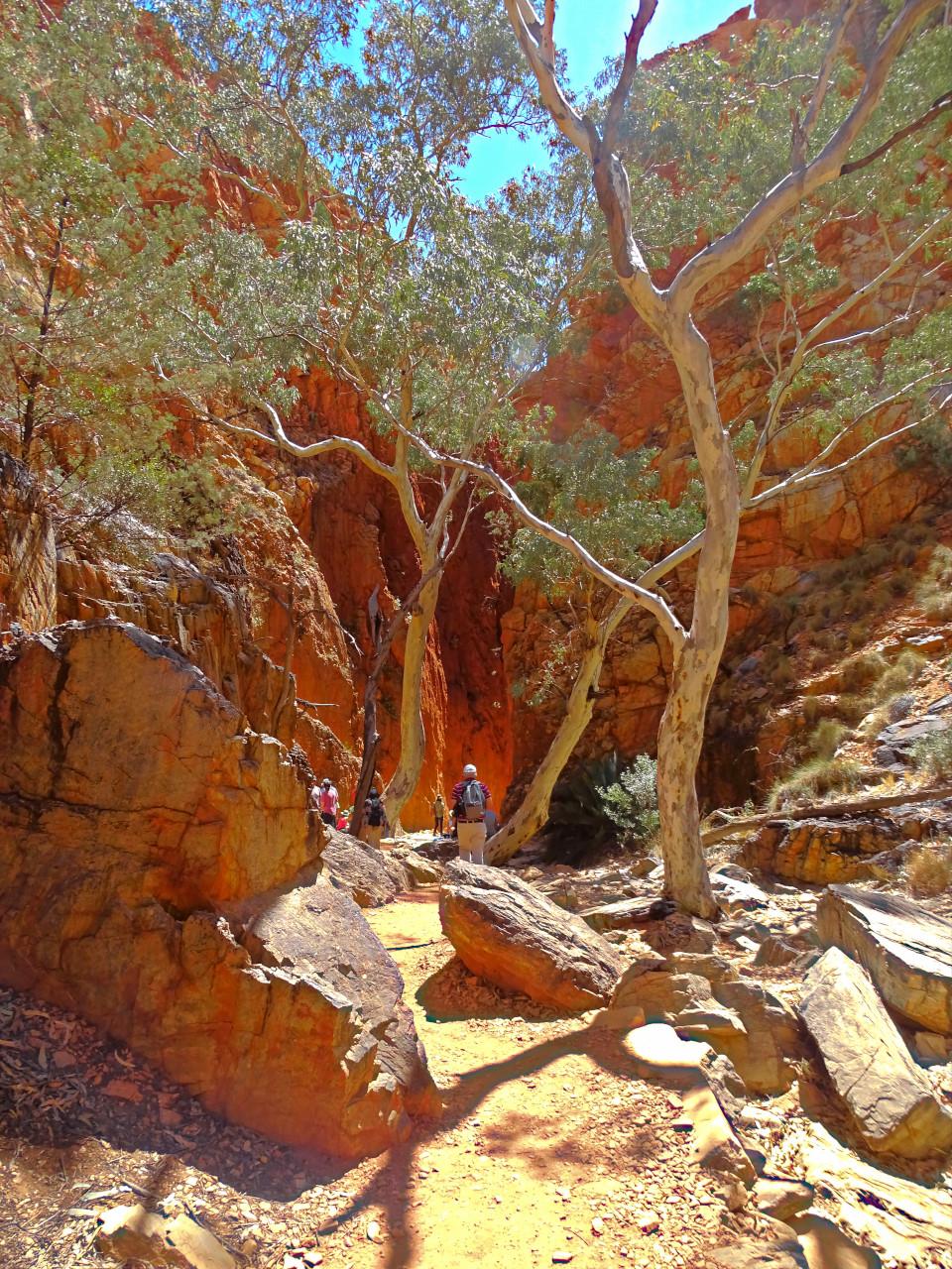 Entering a slot canyon Central Australia