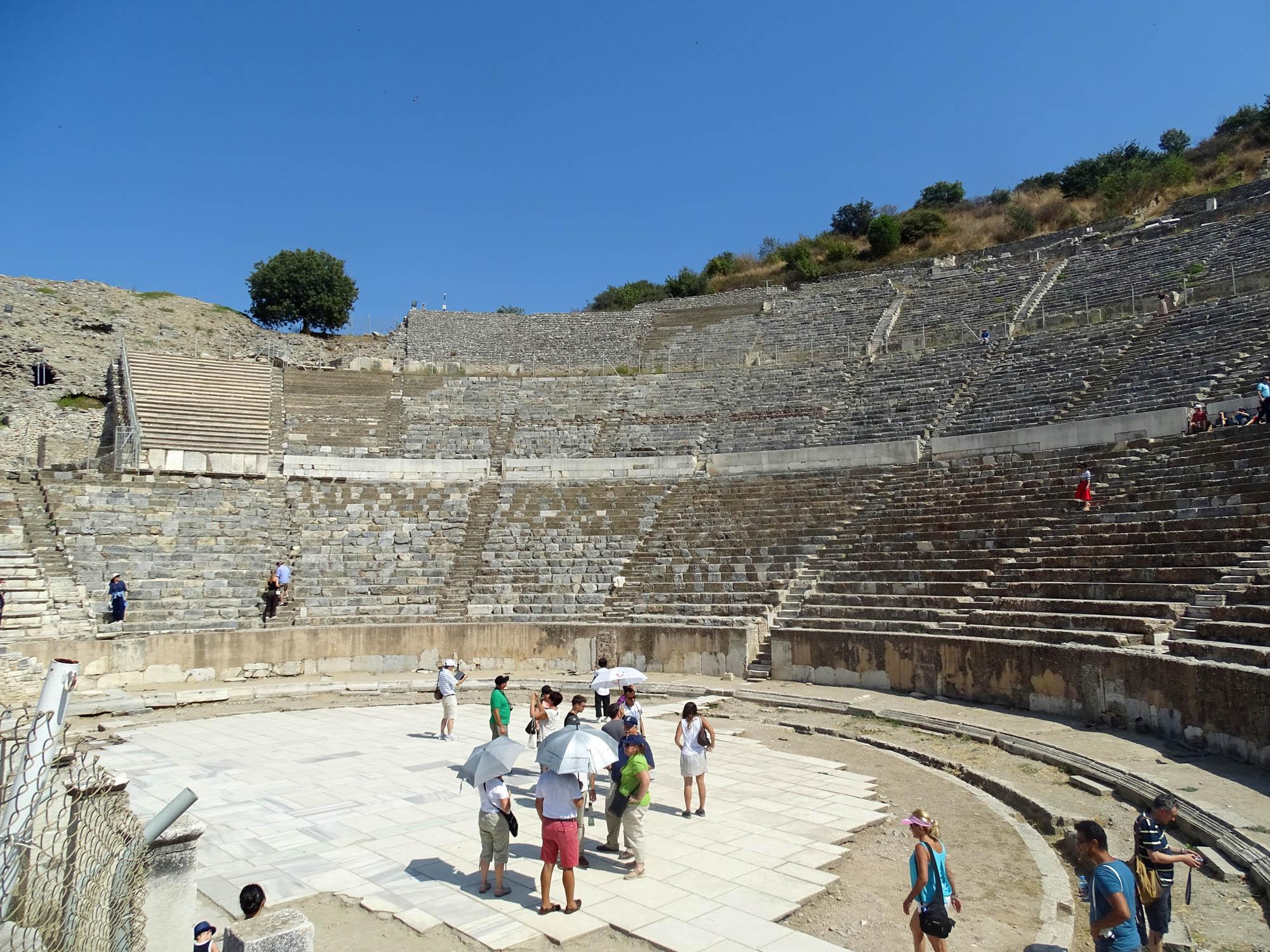 People in theatre in Ephesus