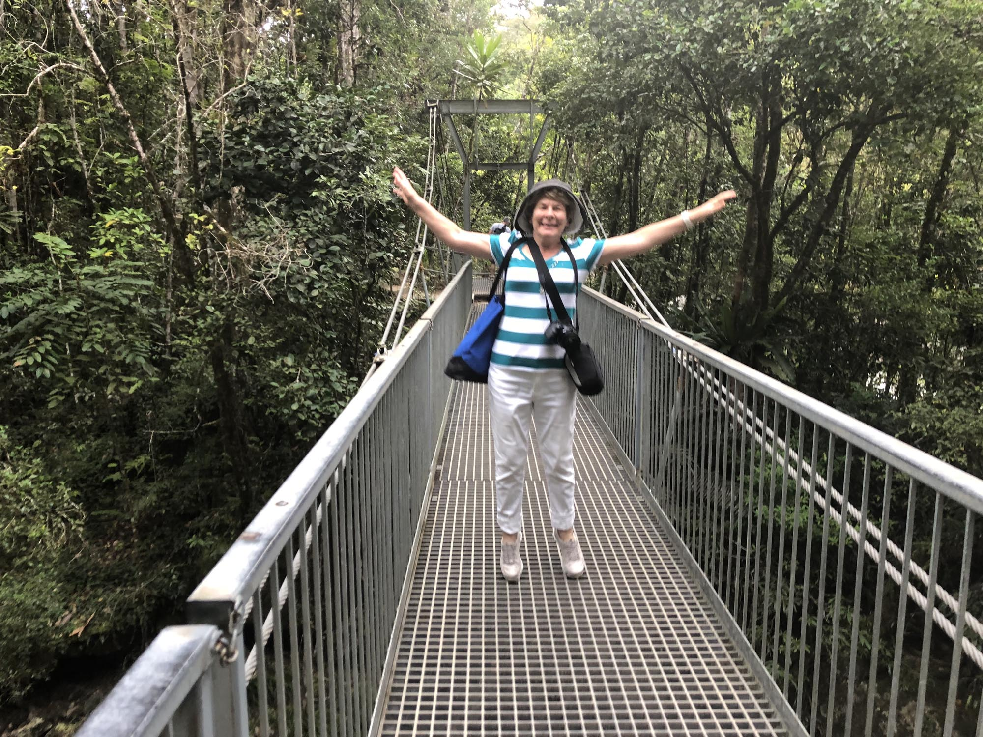 Jumping on a suspension bridge